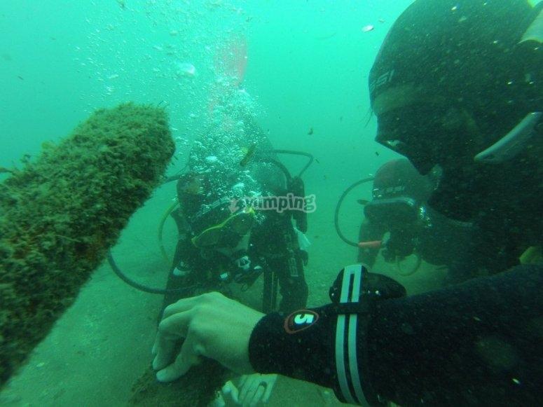 Ejercicios en el fondo marino