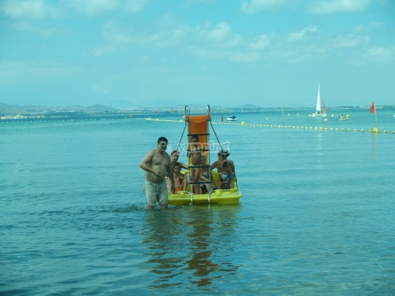 Pedal boat with slide for all the family