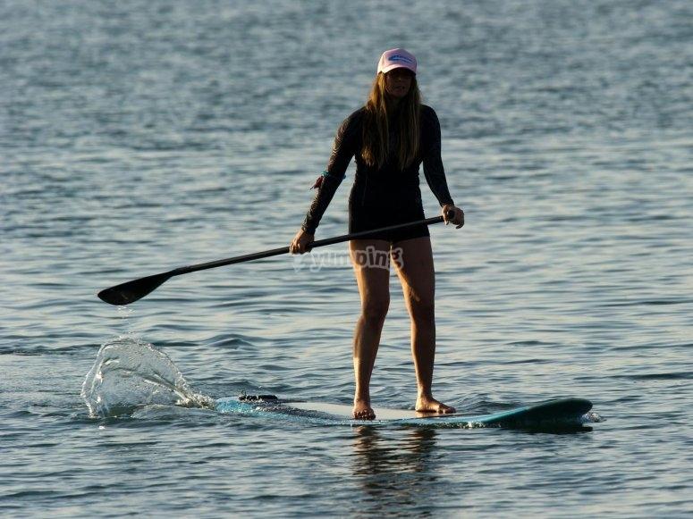Enjoying paddle surf