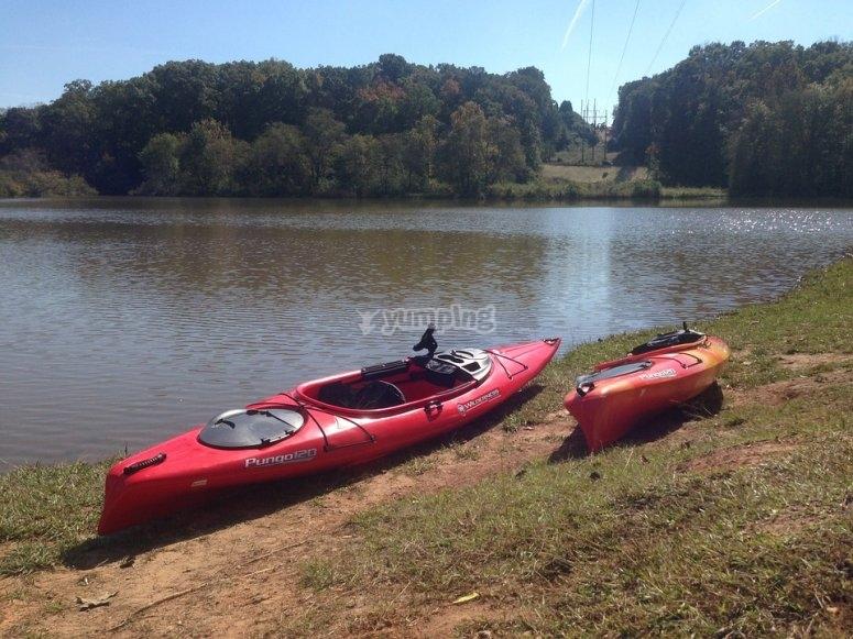 Kayak on land