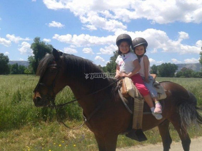 Children riding the horse