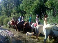 Control del caballo en el rio en Bierge
