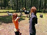 ninas realizando tiro con arco con unas dianas de animales