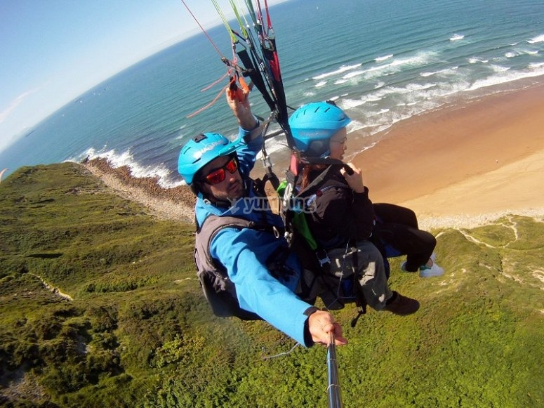 Paragliding over the coast of Sopelana