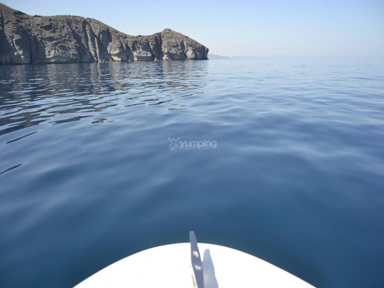 Maritime route on a zodiac in Cabo de Gata