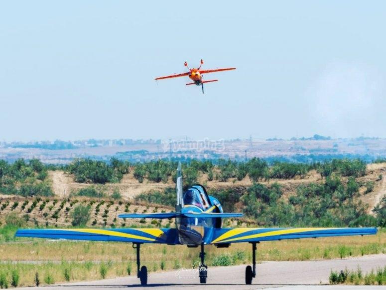 Light aircraft on the landing spot