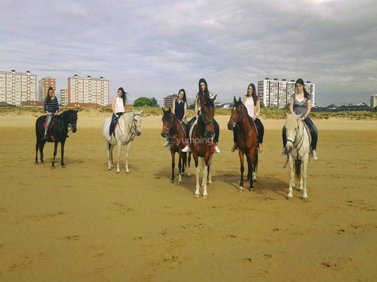 Disfrutando con los caballos