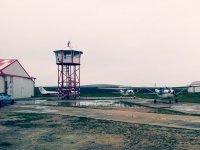 Dia nublado junto al hangar