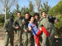 Group of friends equipped for the paintball
