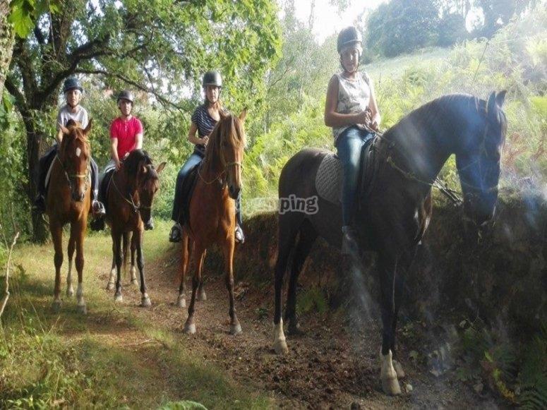 Riding on horseback through Ribadesella