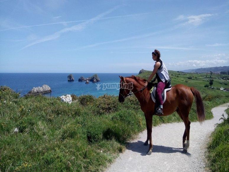 Horseback riding along the coast of Asturias
