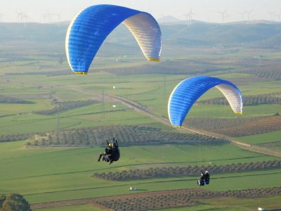 Simultaneous Couple Paragliding in Algodonales