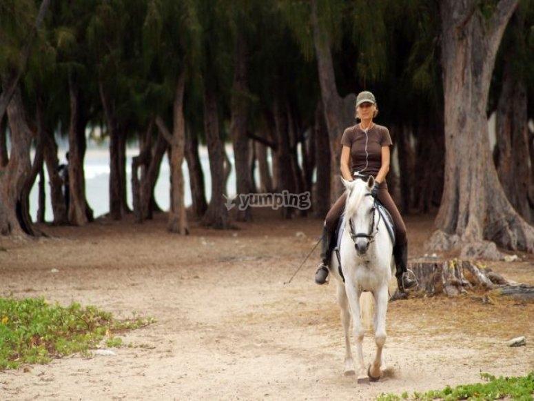 女人在沙地上骑着马