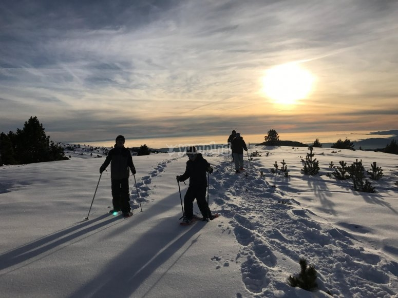 Snowshoes route at sunset