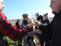 Toast with champagne after the balloon flight