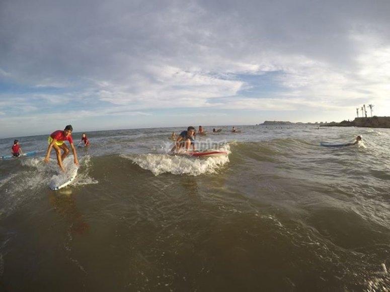 Sesion de surf en Mazarron