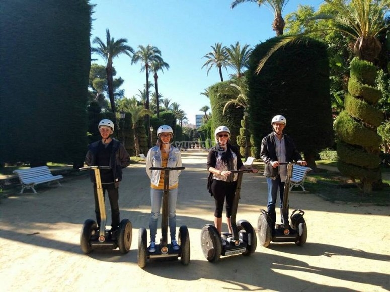 On board the segways in the park