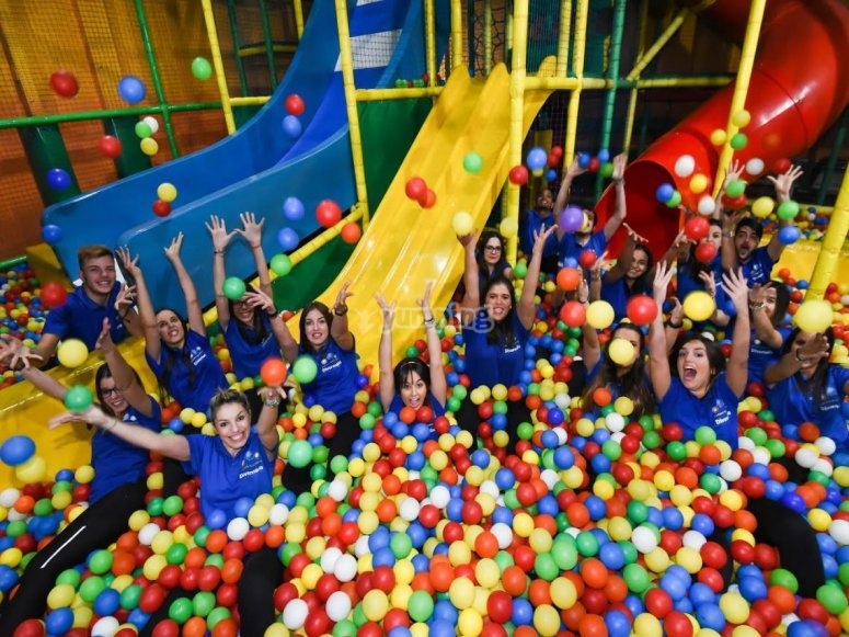 Team in the ball pool