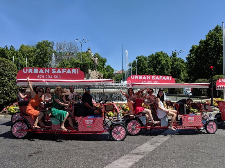 Bachelorette party on a beer bike in Madrid