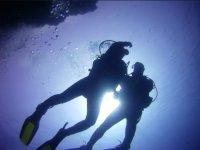 A contraluz bajo el agua