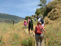 Climbing the hiking trail