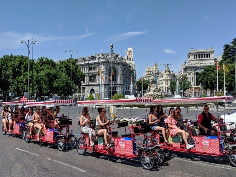 Beer bikes on a street of Madrid