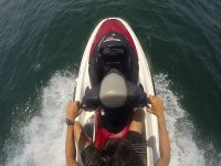 Superior part of the jet ski in the sea
