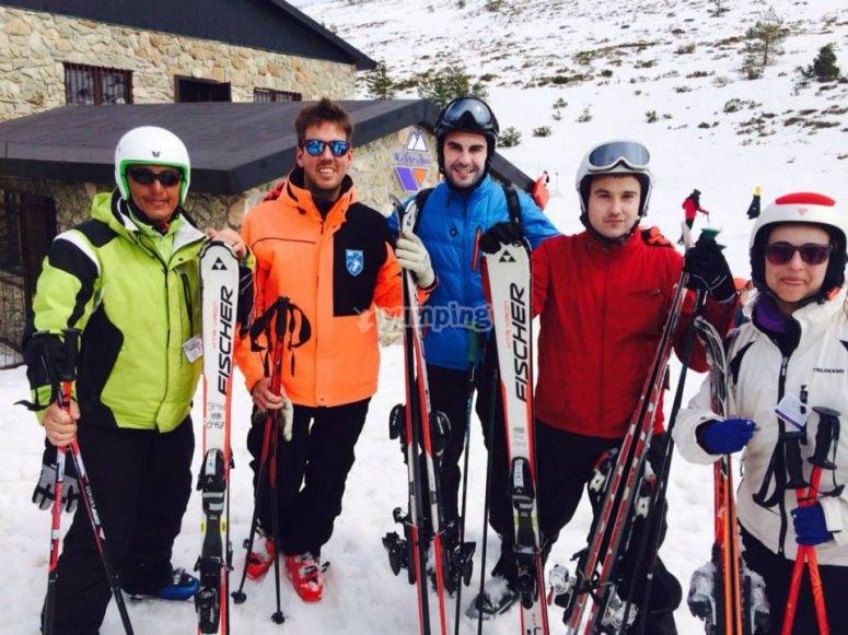 Con el material de esqui