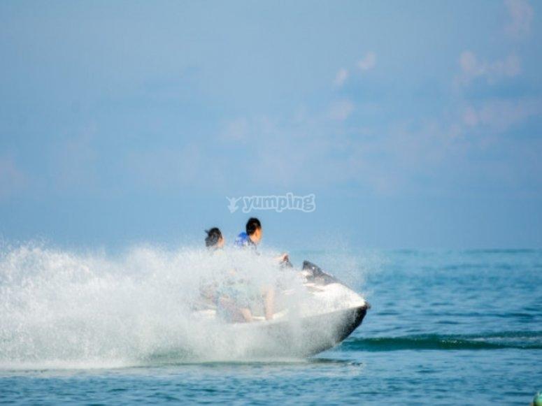 Riding on the jet ski