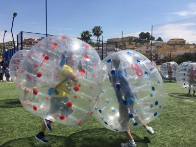 Bubble soccer match in Puerto de la Torre