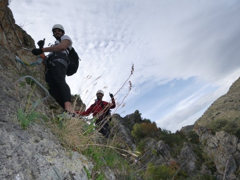 Group in the via ferrata