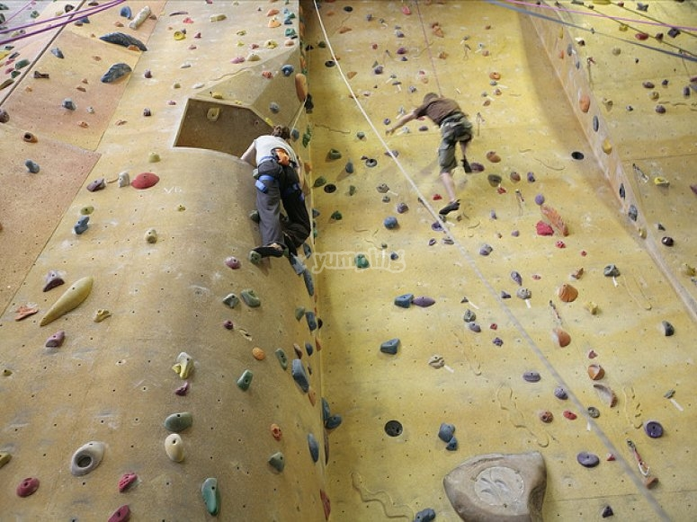Climbing session in the climbing wall