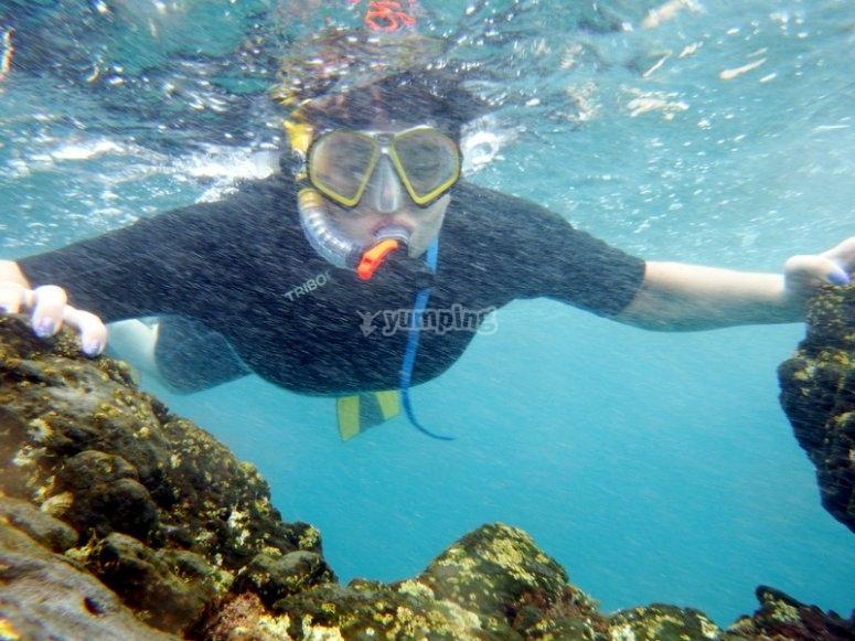 Disfrutando de un día de snorkel
