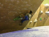 Escalando en pared inclinada