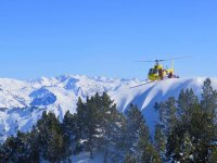 Helicopter in flight through the Val D'Aran