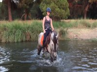 Cruzando el rio a lomos del caballo
