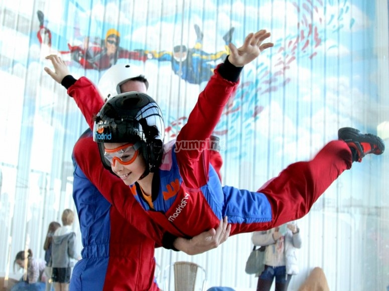Volando en el tunel de viento en Madrid