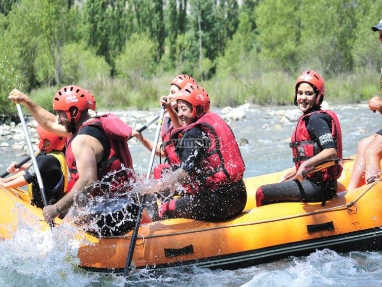 White water rafting in rough waters