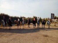 Amigos sobre los caballos en ruta