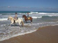 Pareja a caballo en el mar