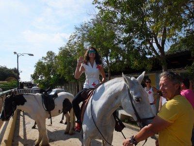 Itinerario a cavallo e banana boat sulla spiaggia di Gandía