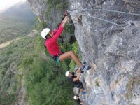 Holding on to the staples of the ferrata