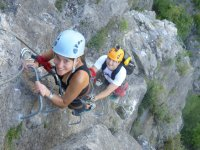 In the ferrata with a helmet with camera