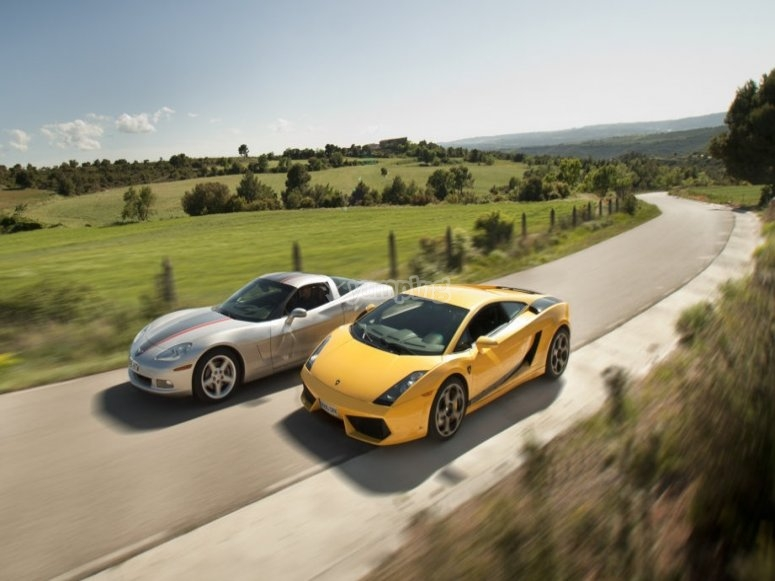 Conduce un Corvette y un Lamborghini