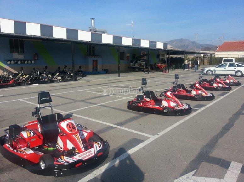 Karts on the circuit