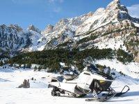Potente moto de nieve parada