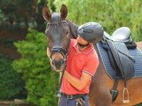 Jinete mirando al caballo