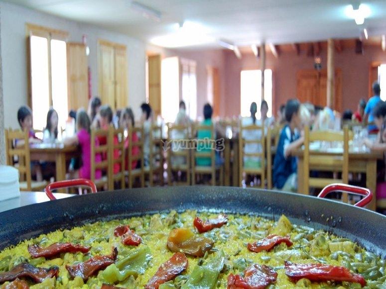 Comedor en la granja escuela