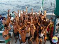 boys and girls ibiza sea party parties catamaran boats