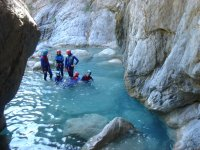 Practicing canyoning